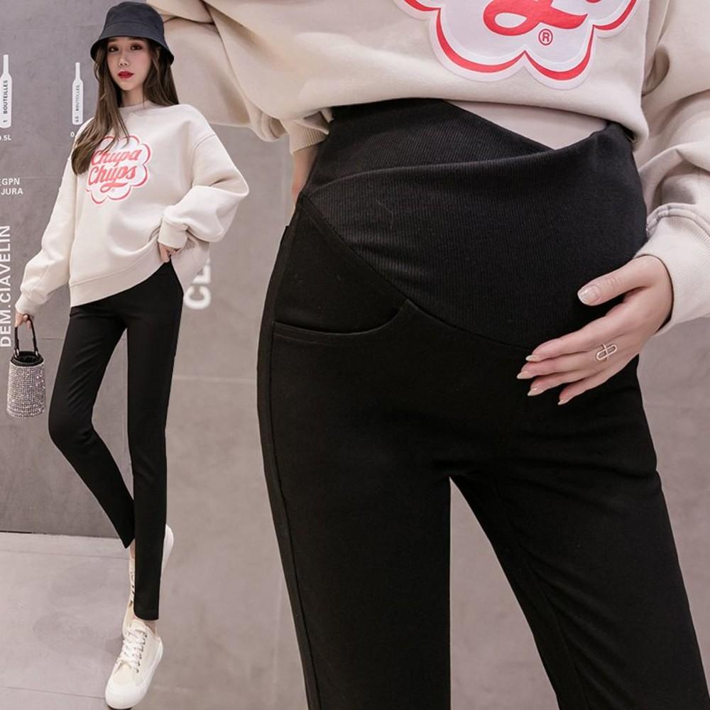P3202-韓系 孕婦 修身 顯瘦 小腳褲【P3202】低腰 交叉 托腹 長褲 孕婦褲