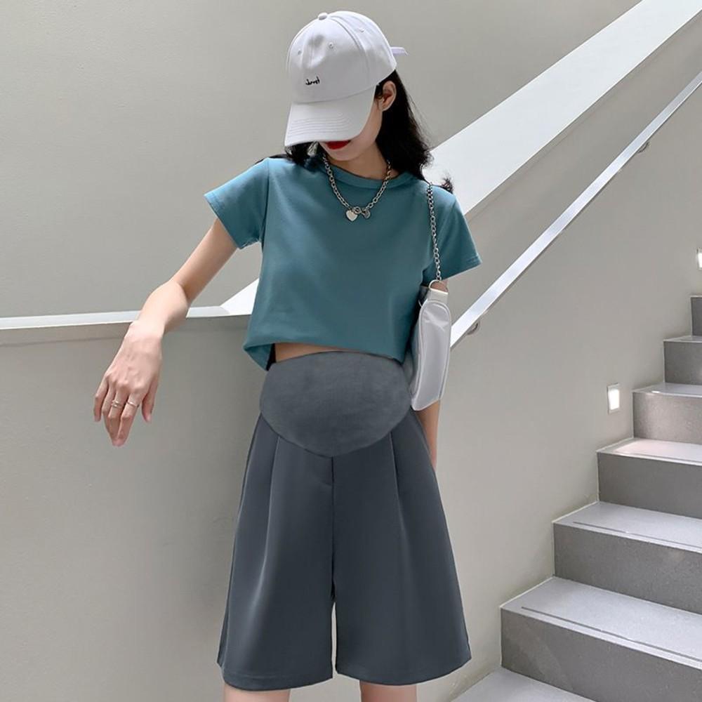 韓系 孕婦 高腰 西裝短褲【P3291】薄款 五分 西裝 直筒 寬鬆 孕婦短褲 五分褲