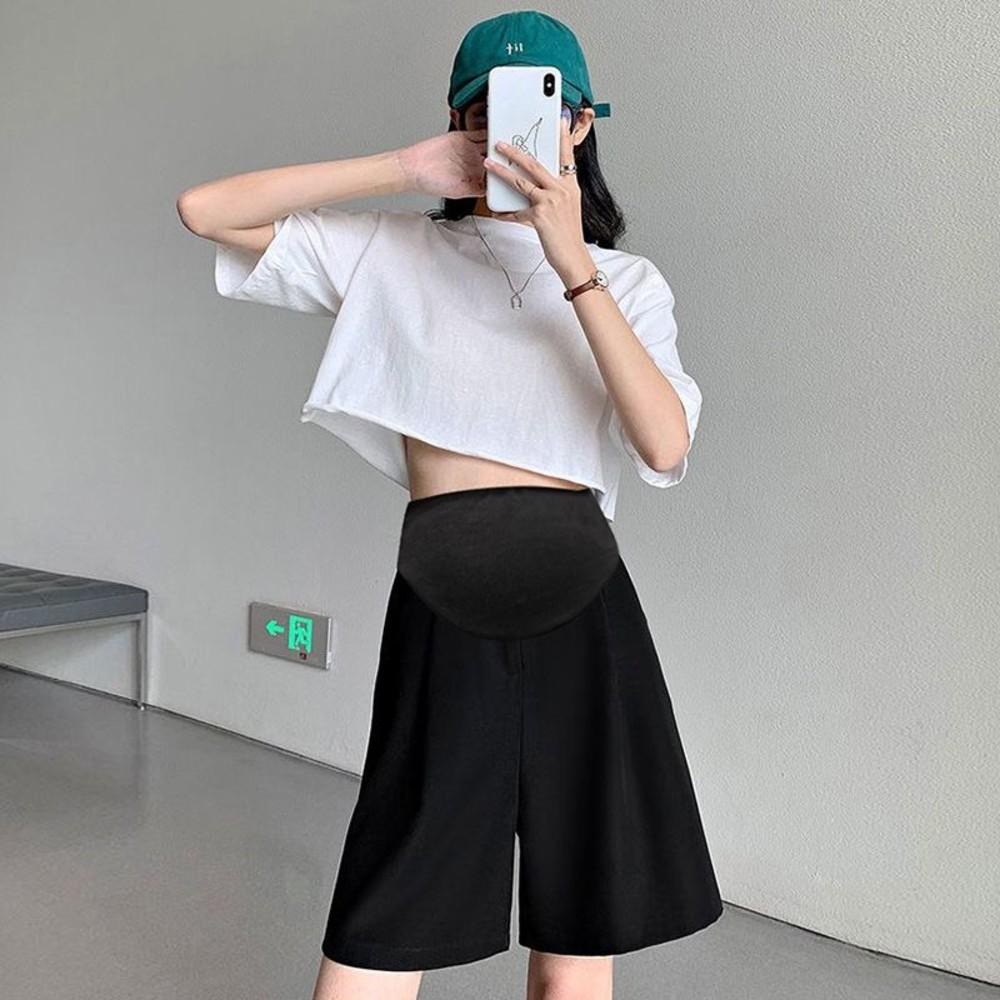 P3291-韓系 孕婦 高腰 西裝短褲【P3291】薄款 五分 西裝 直筒 寬鬆 孕婦短褲 五分褲