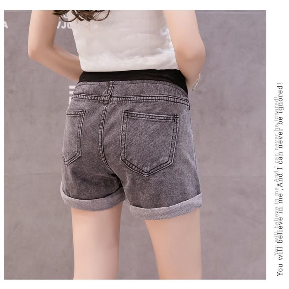 韓系 實拍 低腰 孕婦短褲【P3293】反摺 托腹 孕婦 牛仔短褲 牛仔褲 孕婦裝