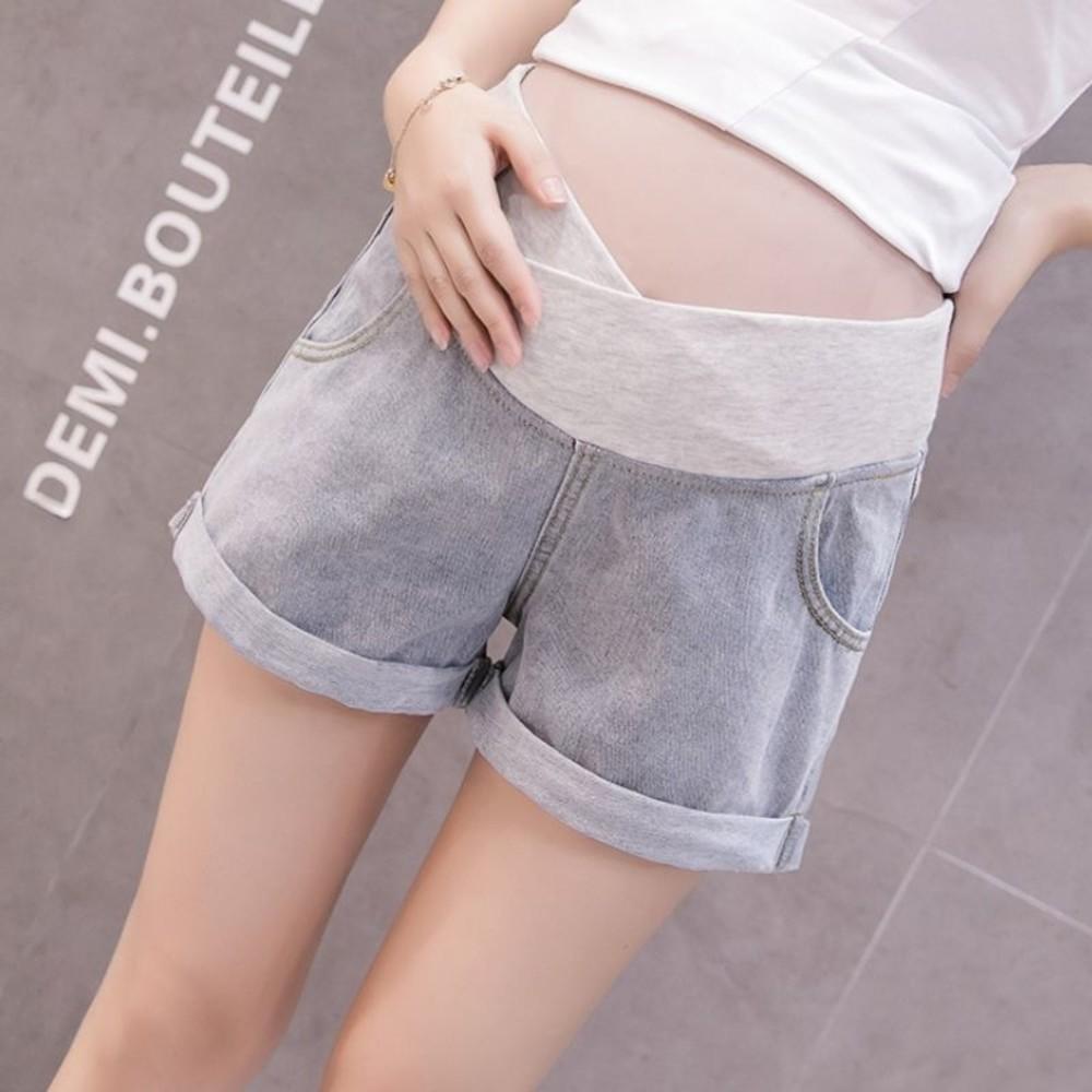 P3293-韓系 實拍 低腰 孕婦短褲【P3293】反摺 托腹 孕婦 牛仔短褲 牛仔褲 孕婦裝