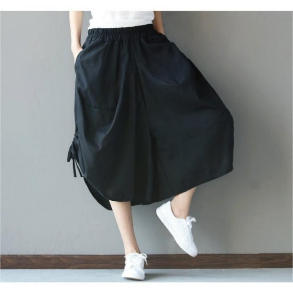 文藝燈籠褲 【P3692】 棉麻 純色 寬鬆 褲裙 鬆緊褲頭 加大 裙褲 燈籠褲 寬褲