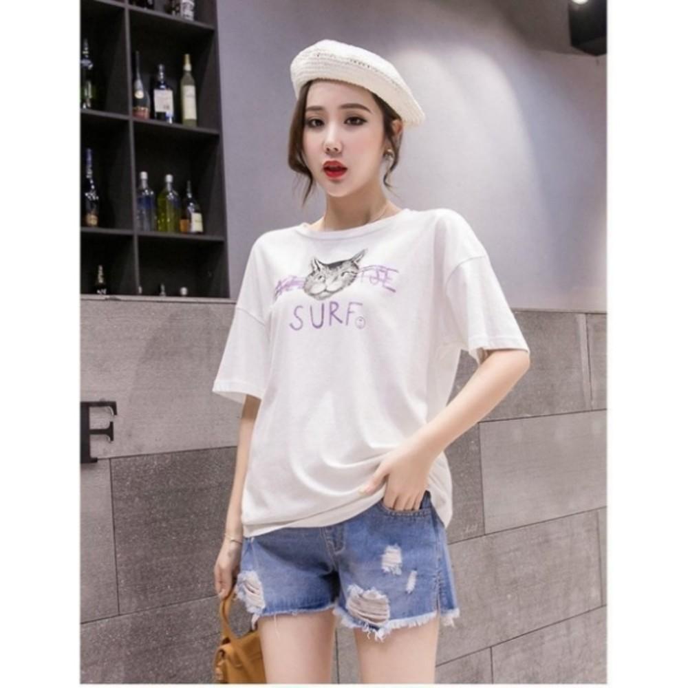 孕婦短褲 【P3881】 開叉 牛仔短褲 抽鬚 刮破 高腰 破洞 孕婦托腹褲 牛仔褲
