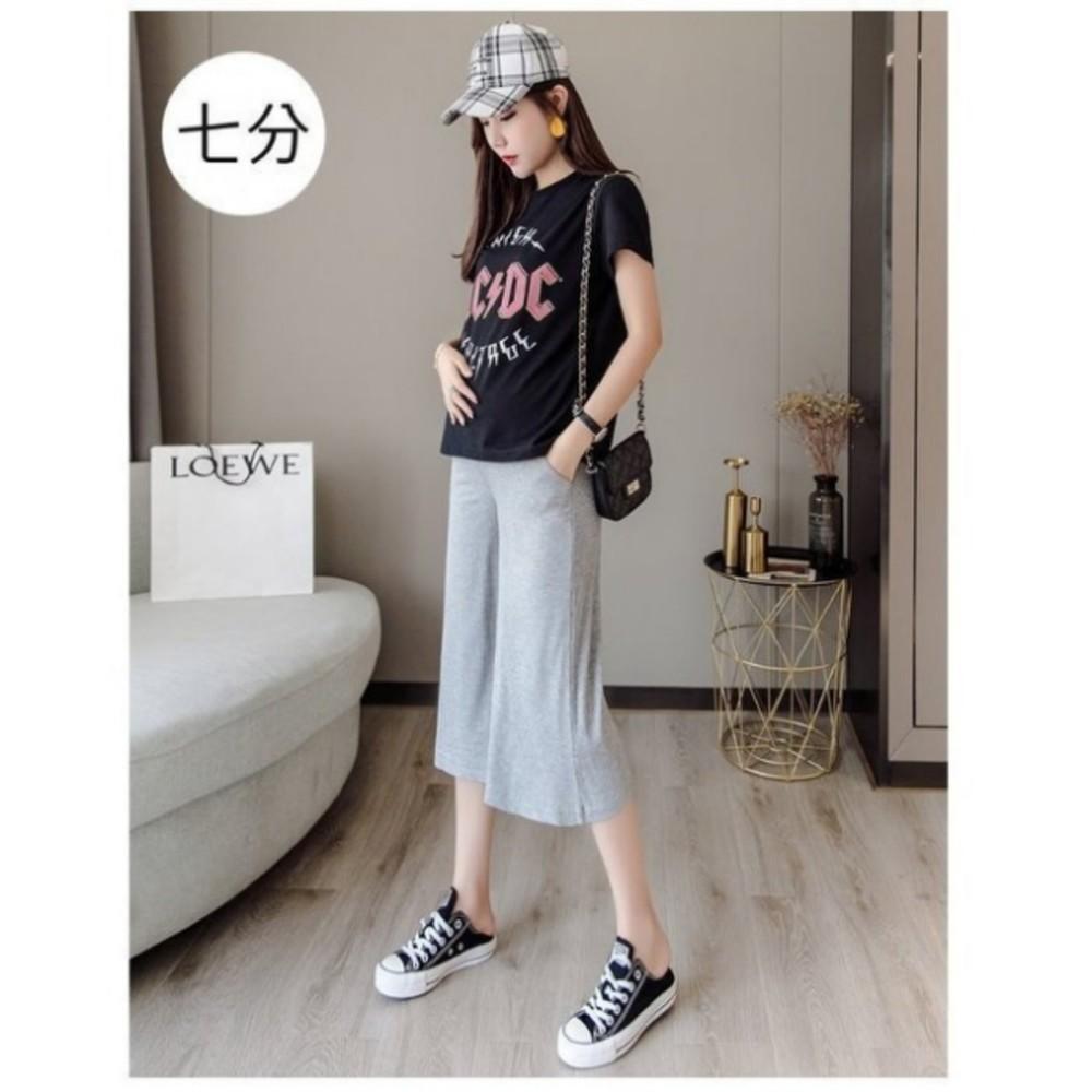 冰絲【P4237】 涼感 純色 坑條 寬褲 M-XXL 孕婦 高腰 托腹褲 七分褲 八分褲