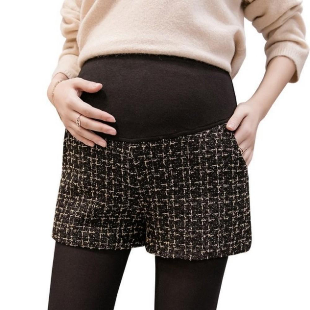 小香風編織格紋短褲【P4297】2020秋冬休閒孕婦裝時尚外穿孕婦闊腿褲孕婦靴褲