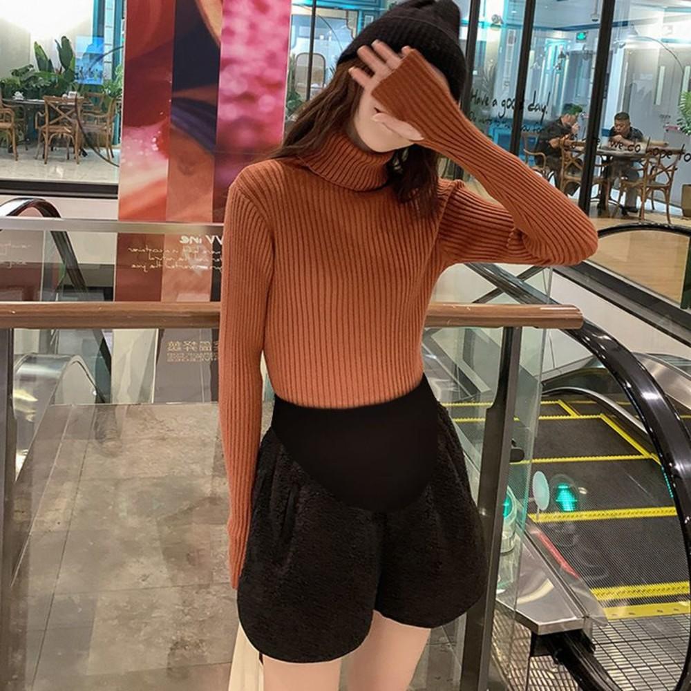韓系 羊羔絨 短褲【P4888】孕婦 高腰 保暖 托腹短褲 孕婦短褲