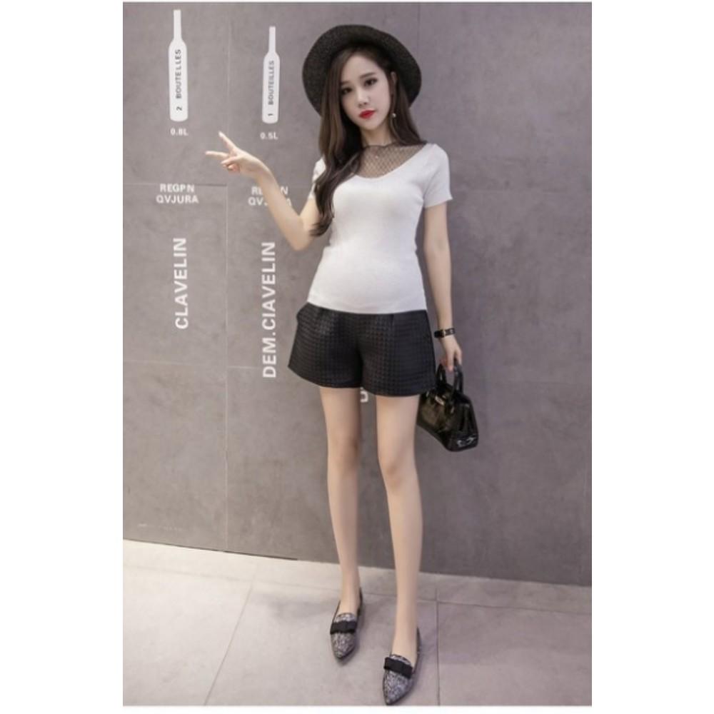 韓國托腹褲 【P4926】 純色 緹花 格紋 高腰托腹 孕婦裝 孕婦短褲托腹褲