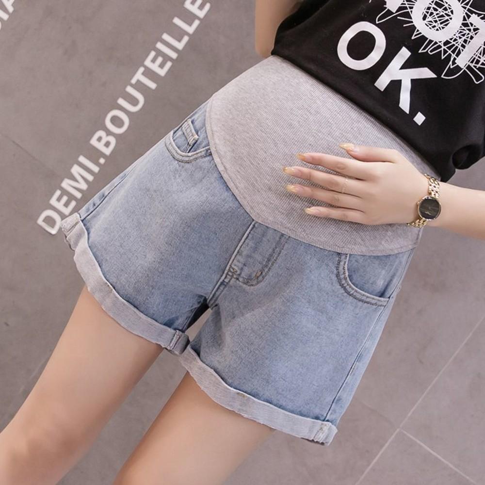 托腹短褲 【P5387】 孕婦托腹短褲 韓系 反摺 顯瘦 牛仔短褲 牛仔 托腹 短褲