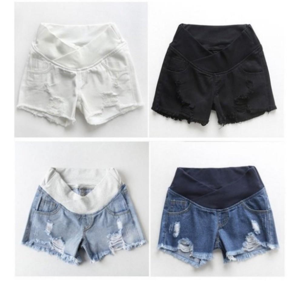 韓系托腹褲 【P5402】 抽鬚 刮破 低腰 交叉 顯瘦 破洞 孕婦托腹褲 牛仔褲 孕婦短褲