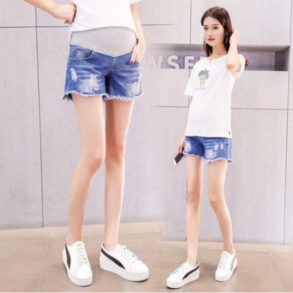 孕婦短褲 【P6611】 牛仔短褲 抽鬚 刮破 高腰 顯瘦 破洞 孕婦托腹褲 牛仔褲
