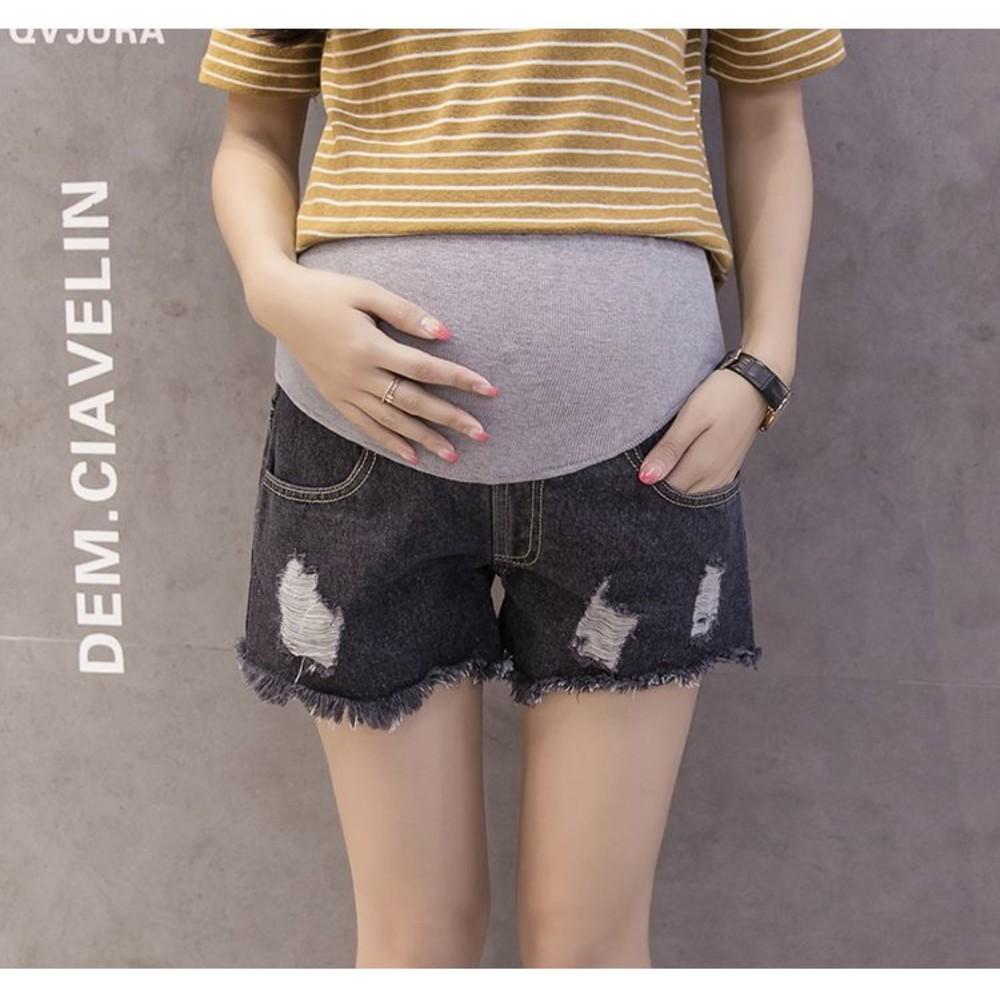 P6611-孕婦短褲 【P6611】 牛仔短褲 抽鬚 刮破 高腰 顯瘦 破洞 孕婦托腹褲 牛仔褲
