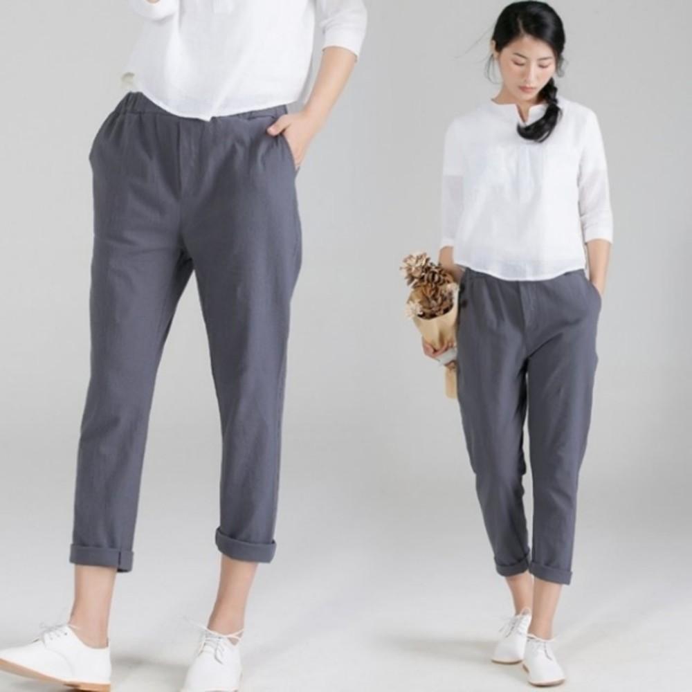 原創設計八分褲 【P8812】 棉麻 休閒 哈倫褲 寬鬆 亞麻 八分褲 封面照片