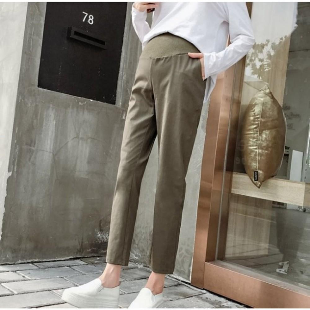 棉麻托腹褲 【P9000】 純色 哈倫褲 M-XXL 孕婦 高腰 托腹褲 九分褲 老爺褲
