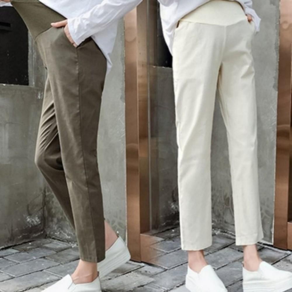 P9000-棉麻托腹褲 【P9000】 純色 哈倫褲 M-XXL 孕婦 高腰 托腹褲 九分褲 老爺褲