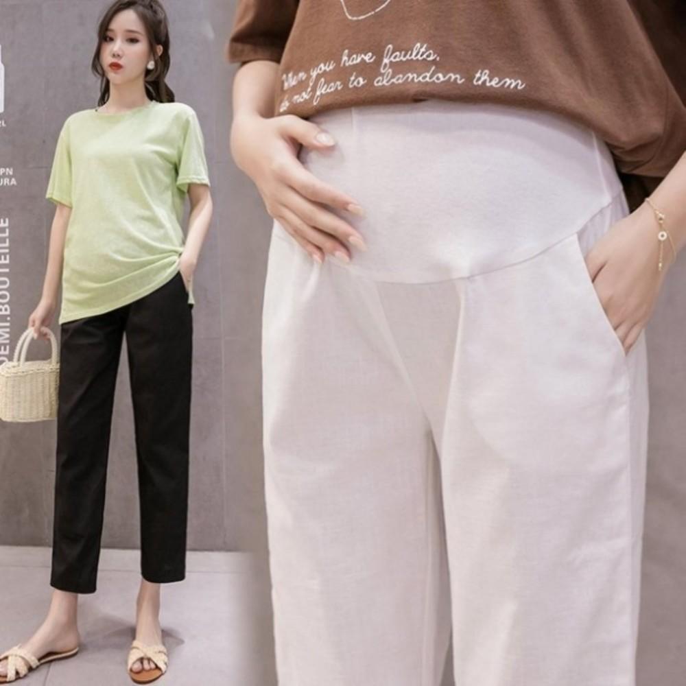 棉麻孕婦褲 【P9002】 孕婦裝 孕婦托腹褲 純色 九分褲 哈倫褲 老爺褲