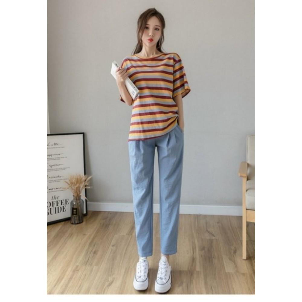 棉麻 托腹褲【P9004】 純色 哈倫褲 M-XXL 孕婦 高腰 托腹褲 九分褲