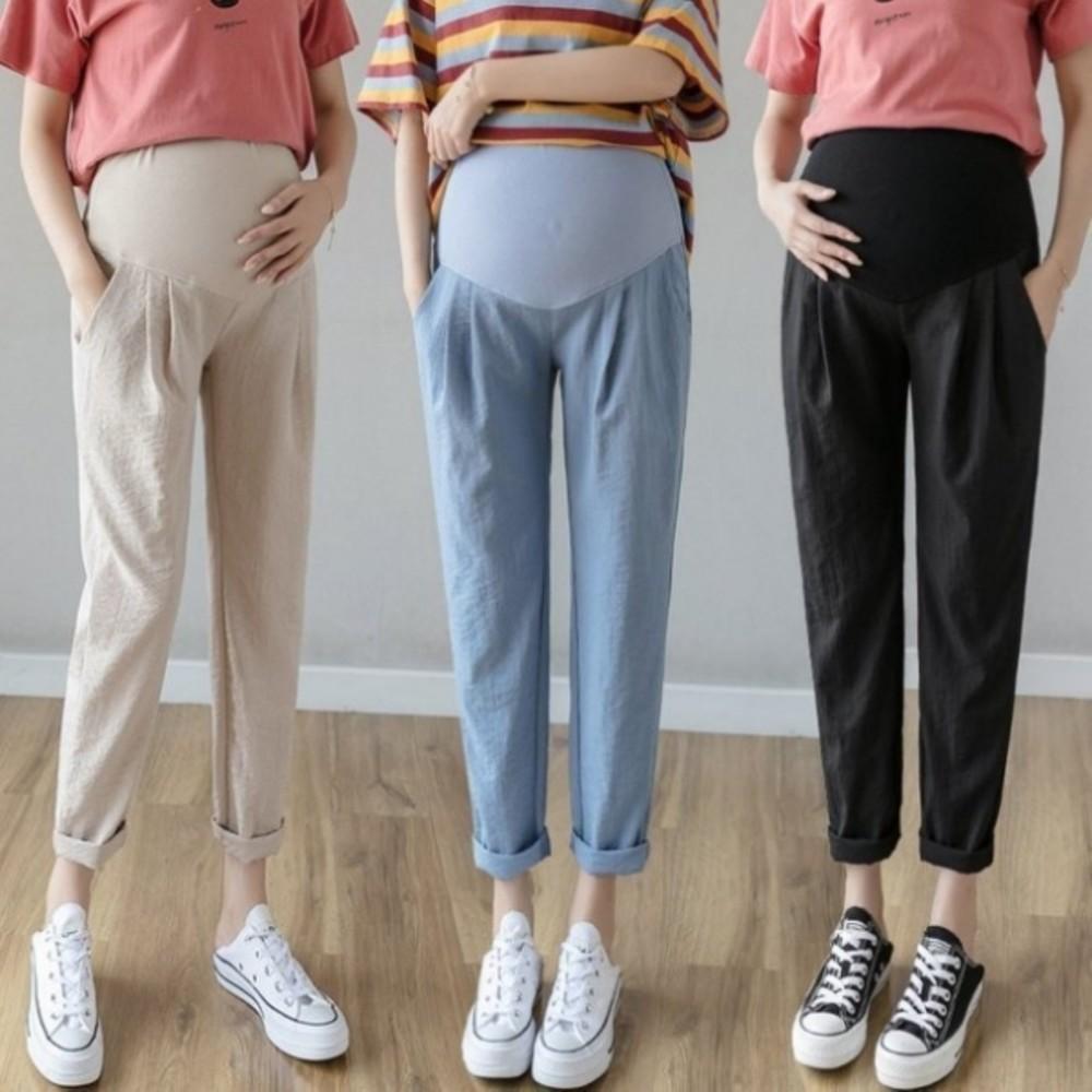 P9004 - 棉麻 托腹褲【P9004】 純色 哈倫褲 M-XXL 孕婦 高腰 托腹褲 九分褲