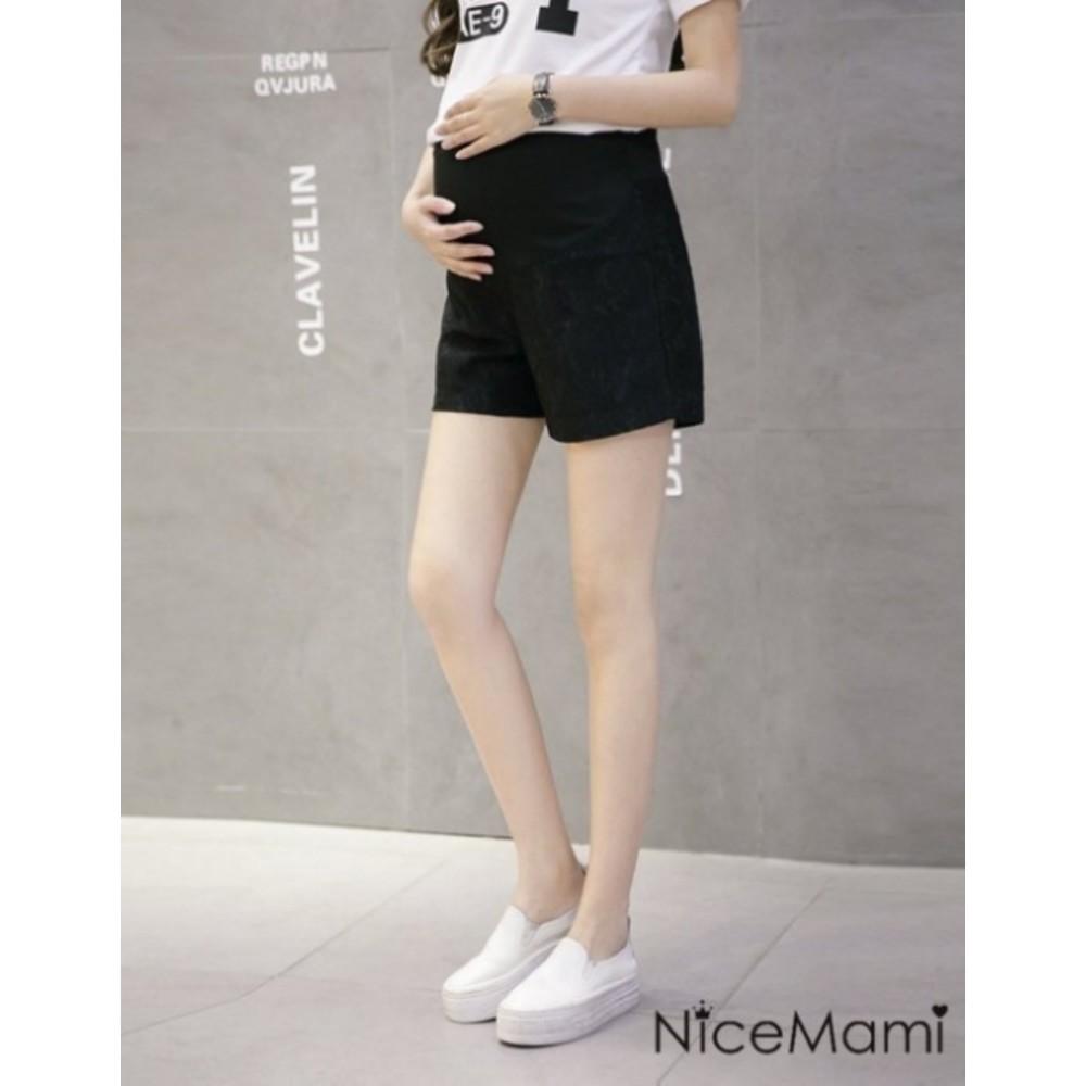 純色托腹褲 【P9020SL】 蕾絲 韓版 高彈力 孕婦短褲 孕婦托腹褲 可調腰圍 孕婦褲