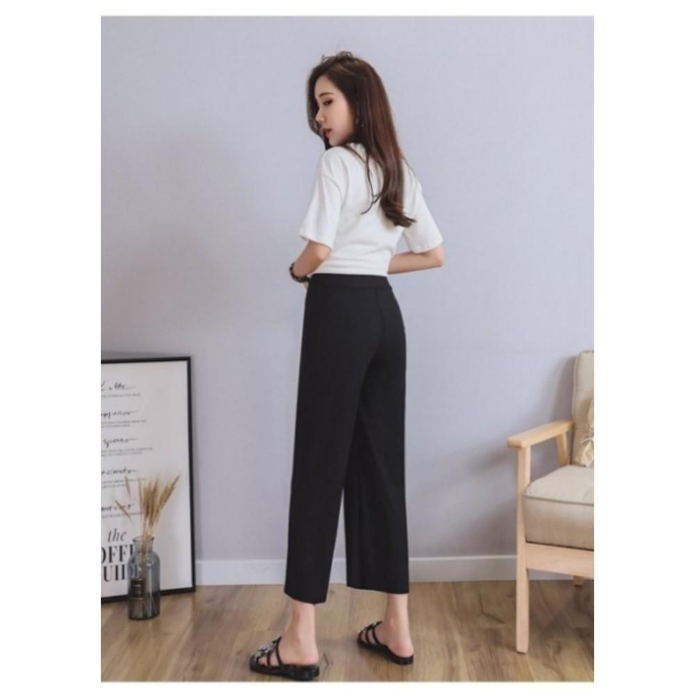 韓低腰寬褲 【P9970】 低腰 清涼感 冰絲 柔軟 輕柔 坑條 孕婦褲 寬褲 九分褲