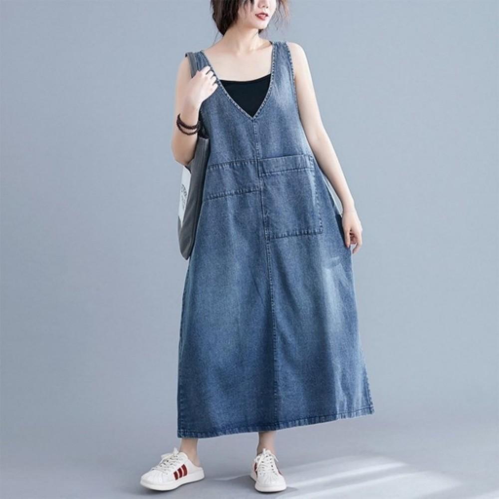 文藝 牛仔【PP0235】牛仔背帶 連衣裙 吊帶寬裙 復古 中長款 A版 V領 大尺碼 休閑