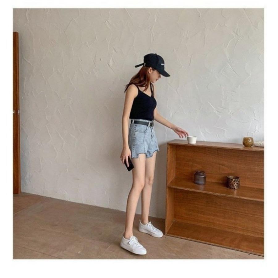 韓系 牛仔短褲 【PP1131】 高腰 牛仔 短褲 熱褲 抓鬚 毛邊 破洞
