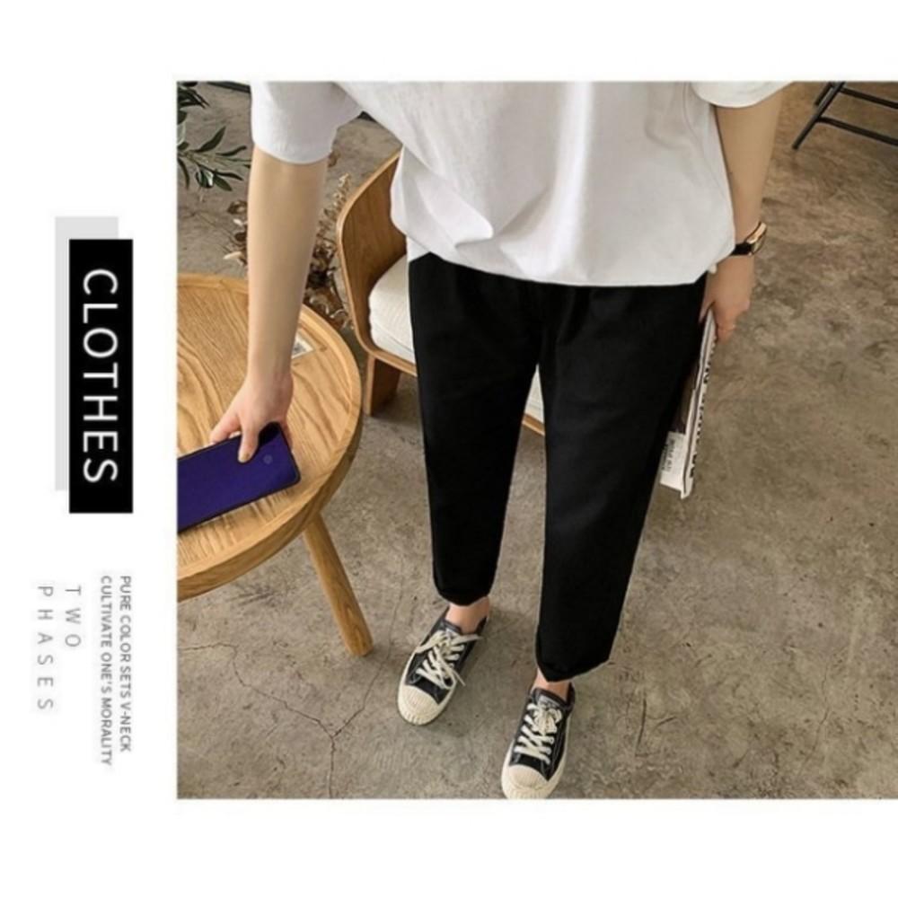 韓系 高含棉 九分褲【PP2186】 休閒褲 韓 高腰 百搭 直筒褲 哈倫褲