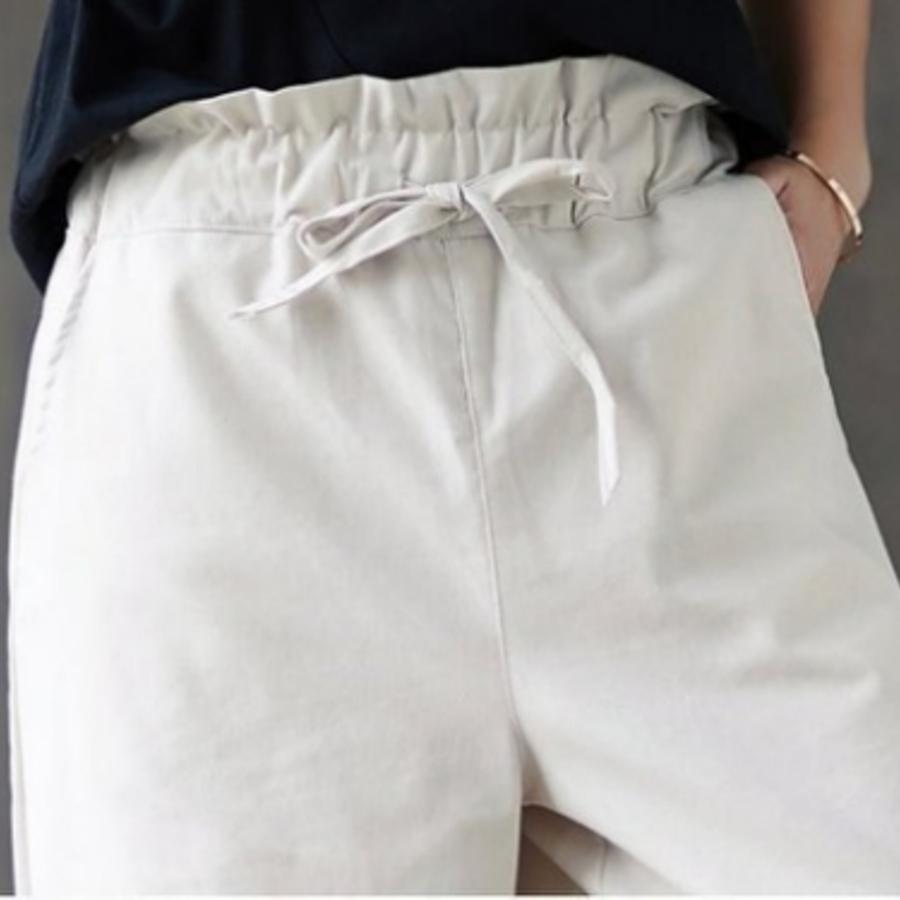 原創 寬褲 【PP3162】 棉麻 質感 九分 鬆緊 直筒 休閒 寬褲 亞麻 闊腿褲