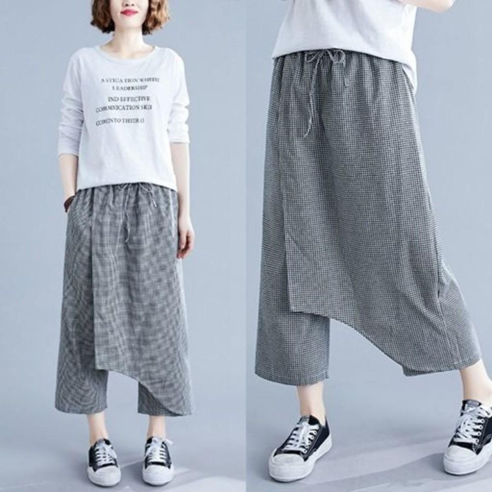 原創棉麻寬褲【PP3243】大碼 薄款 一片式 原創 文藝 格子 鬆緊褲頭