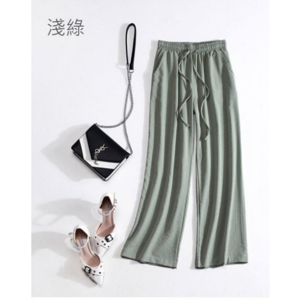 原創 寬褲 【PP6805】 棉麻 輕薄 柔軟 十分 鬆緊 直筒 休閒 寬褲 亞麻 闊腿褲
