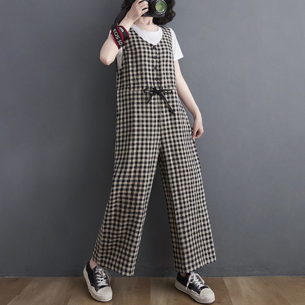 文藝 格紋 連身褲【PP9113】抽繩 寬鬆 格子 背帶褲 吊帶褲