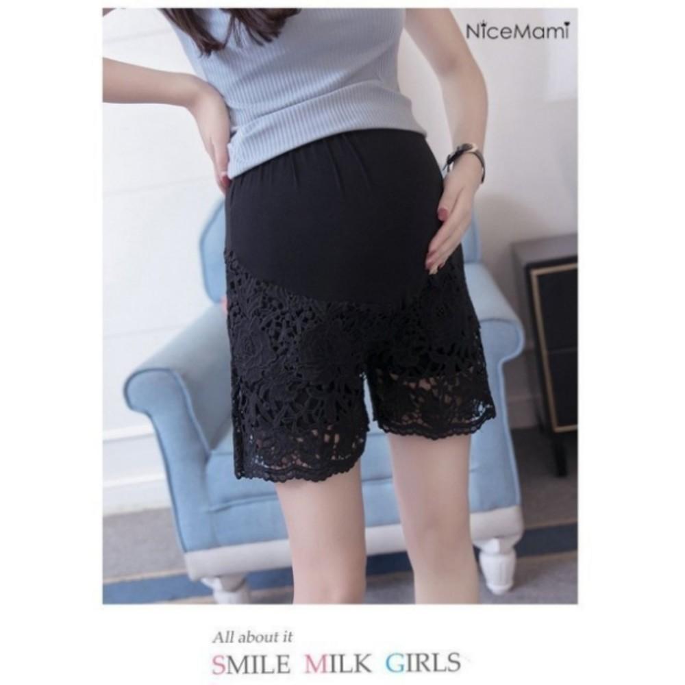 托腹褲 【PPW0531MB】 雕花 蕾絲 托腹短褲 莫代爾 孕婦托腹褲 孕婦短褲