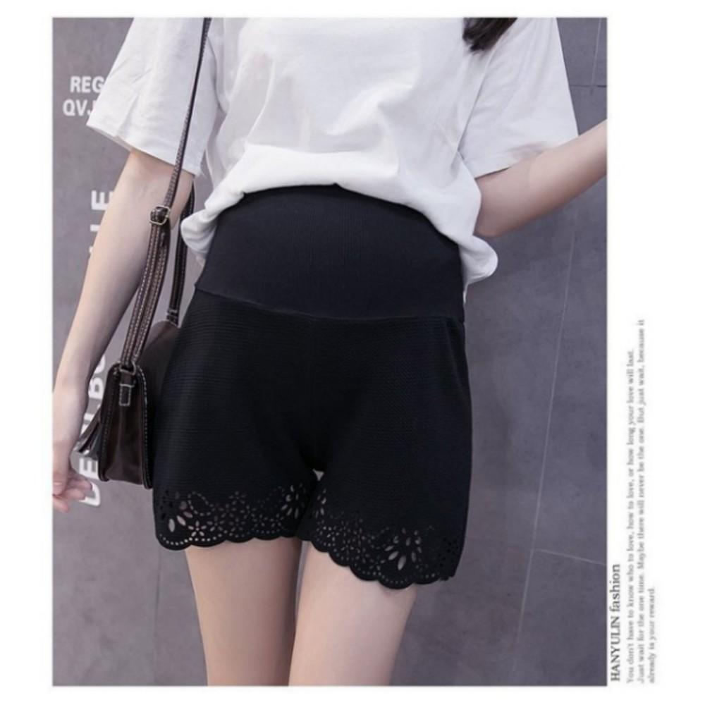 鏤空花邊托腹褲 【PPW0950ET】 顯瘦超彈柔軟舒適 孕婦托腹褲 孕婦短褲