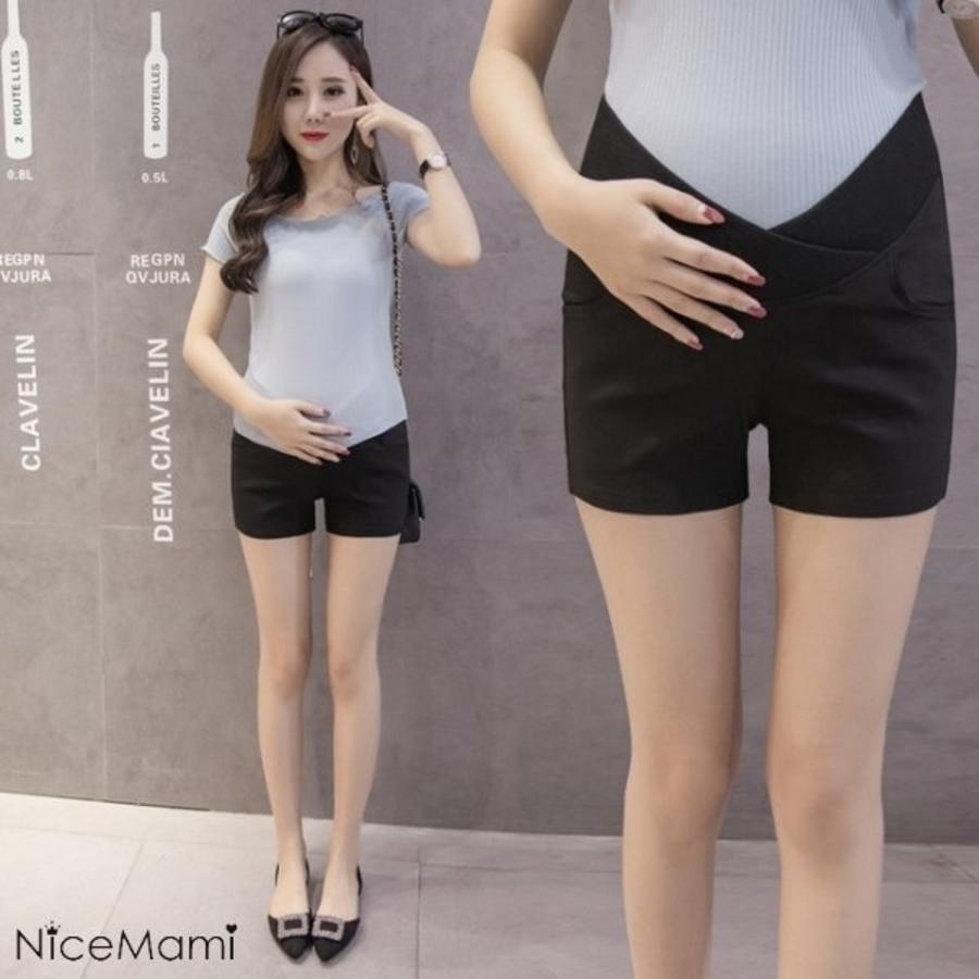 韓系 低腰托腹褲 【PPW1193PB】 純色 低腰托腹褲 孕婦短褲 交叉設計 孕婦褲 熱褲