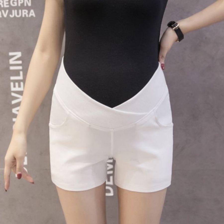 PPW1193PB - 韓系 低腰托腹褲 【PPW1193PB】 純色 低腰托腹褲 孕婦短褲 交叉設計 孕婦褲 熱褲