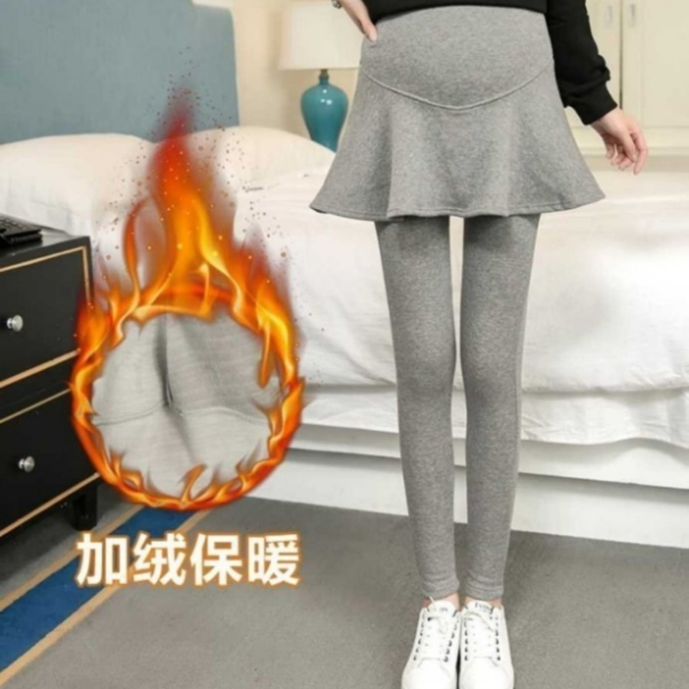 假兩件托腹褲裙 【PPW2008UK】 褲裙 純棉 加絨 孕婦托腹褲 長褲 高腰 可調腰圍