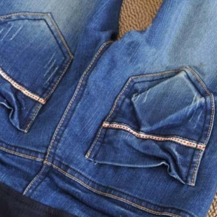 牛仔托腹褲 【PPW3306YS】 完美身型 牛仔小直筒/小腳褲 孕婦裝 孕婦褲托腹褲 刷痕 加