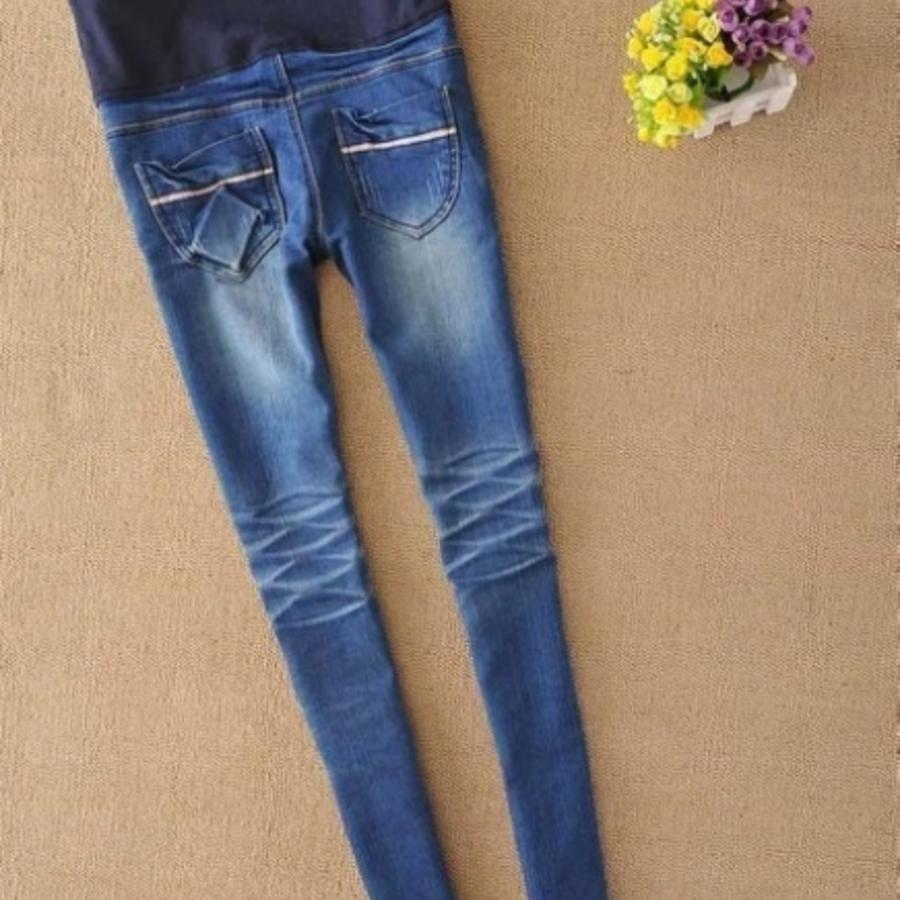 PPW3306YS-牛仔托腹褲 【PPW3306YS】 完美身型 牛仔小直筒/小腳褲 孕婦裝 孕婦褲托腹褲 刷痕 加