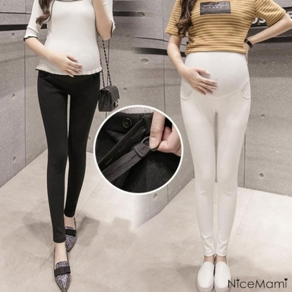 PPW9063MI-托腹褲 【PPW9063MI】純色 孕婦長褲 可調節 柔軟透氣 托腹 鉛筆褲 孕婦褲 高彈力托婦