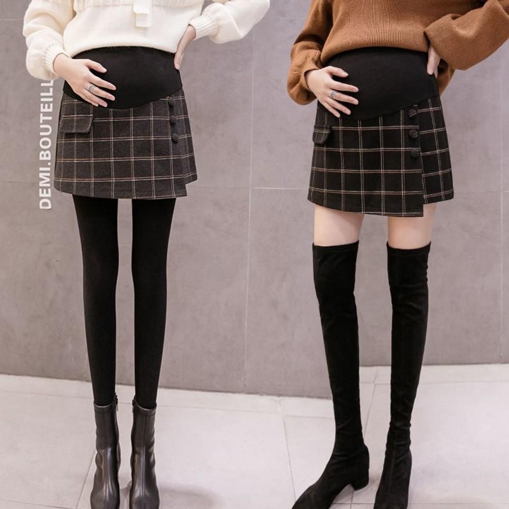 實拍 韓系 褲裙 毛呢 格子 短褲 托腹【S2101】格紋 孕婦 高腰 托腹 短裙 短褲 裙褲