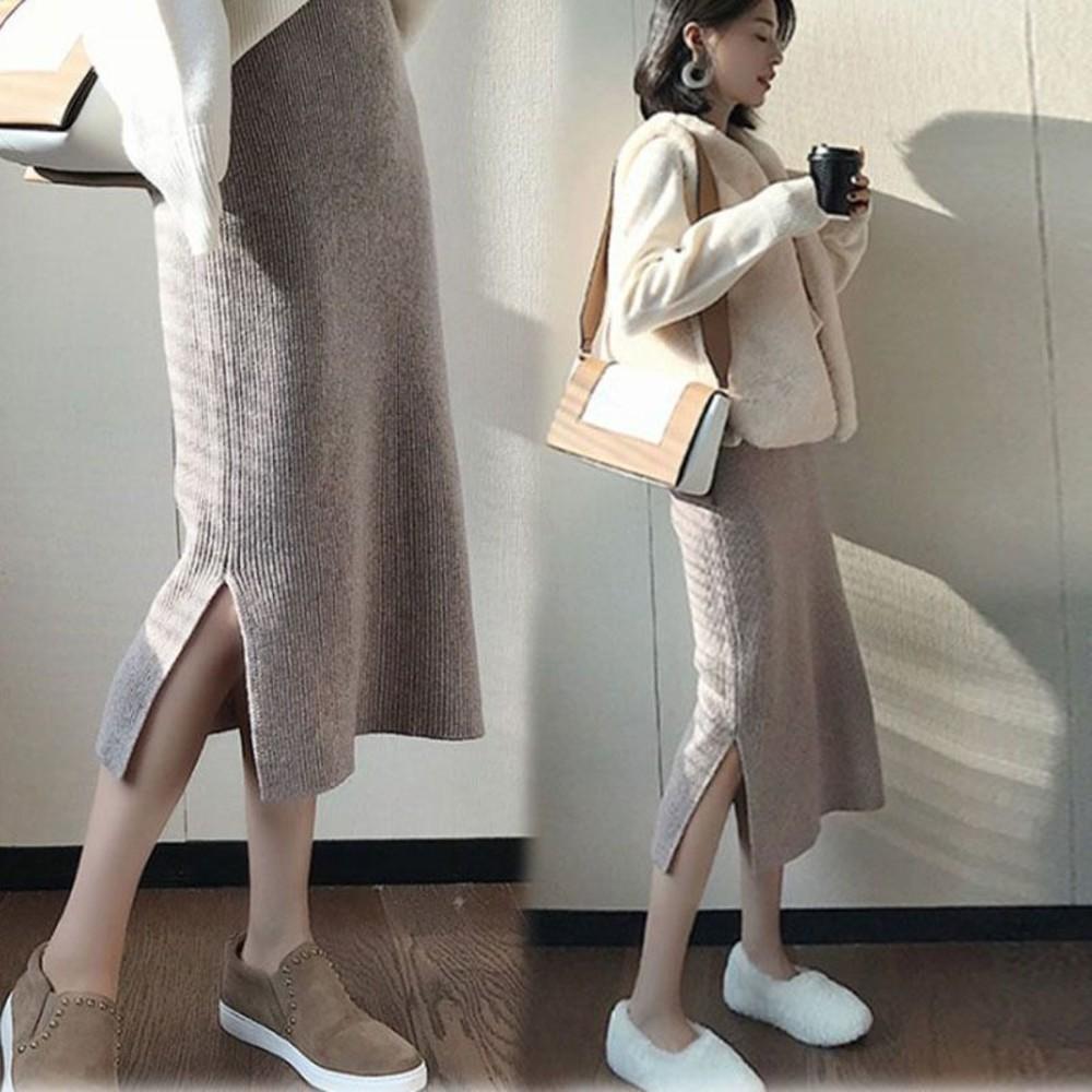 S2122-韓系 實拍 孕婦 半身裙 【S2122】坑條 針織 開岔 長裙 秋冬 針織裙 包臀裙