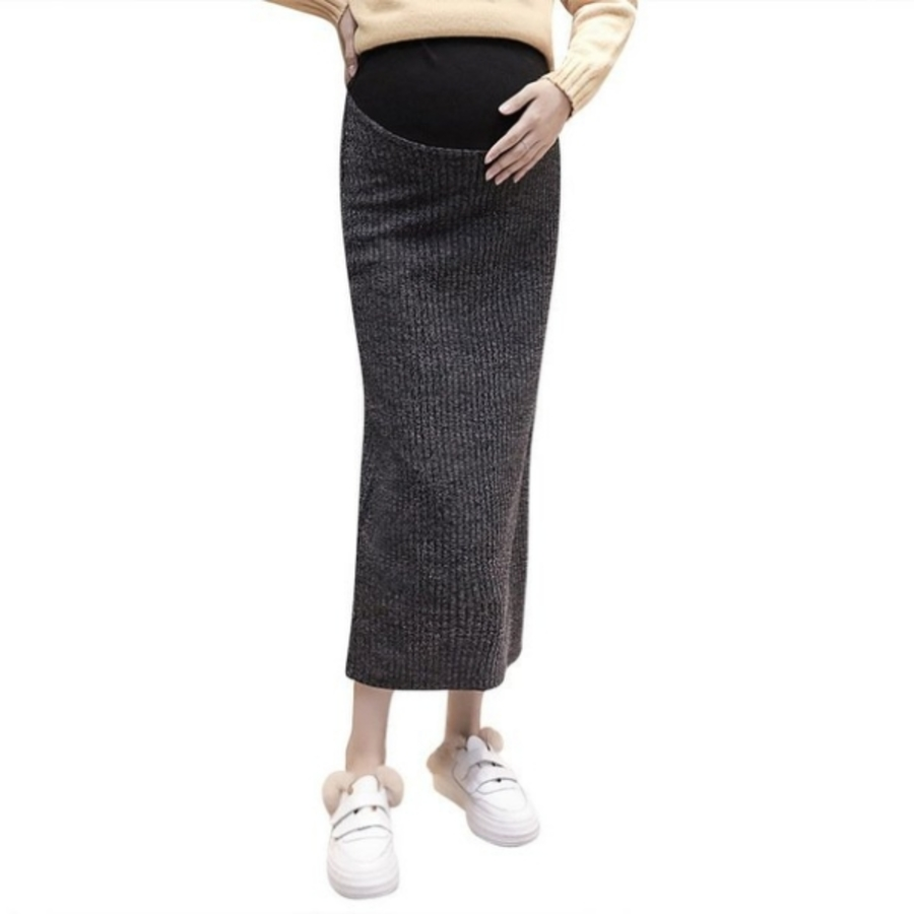 韓系 實拍 孕婦裝【S2310】孕婦裝 半身裙 秋冬 中長款 針織 加絨 加厚 開叉裙 包臀裙