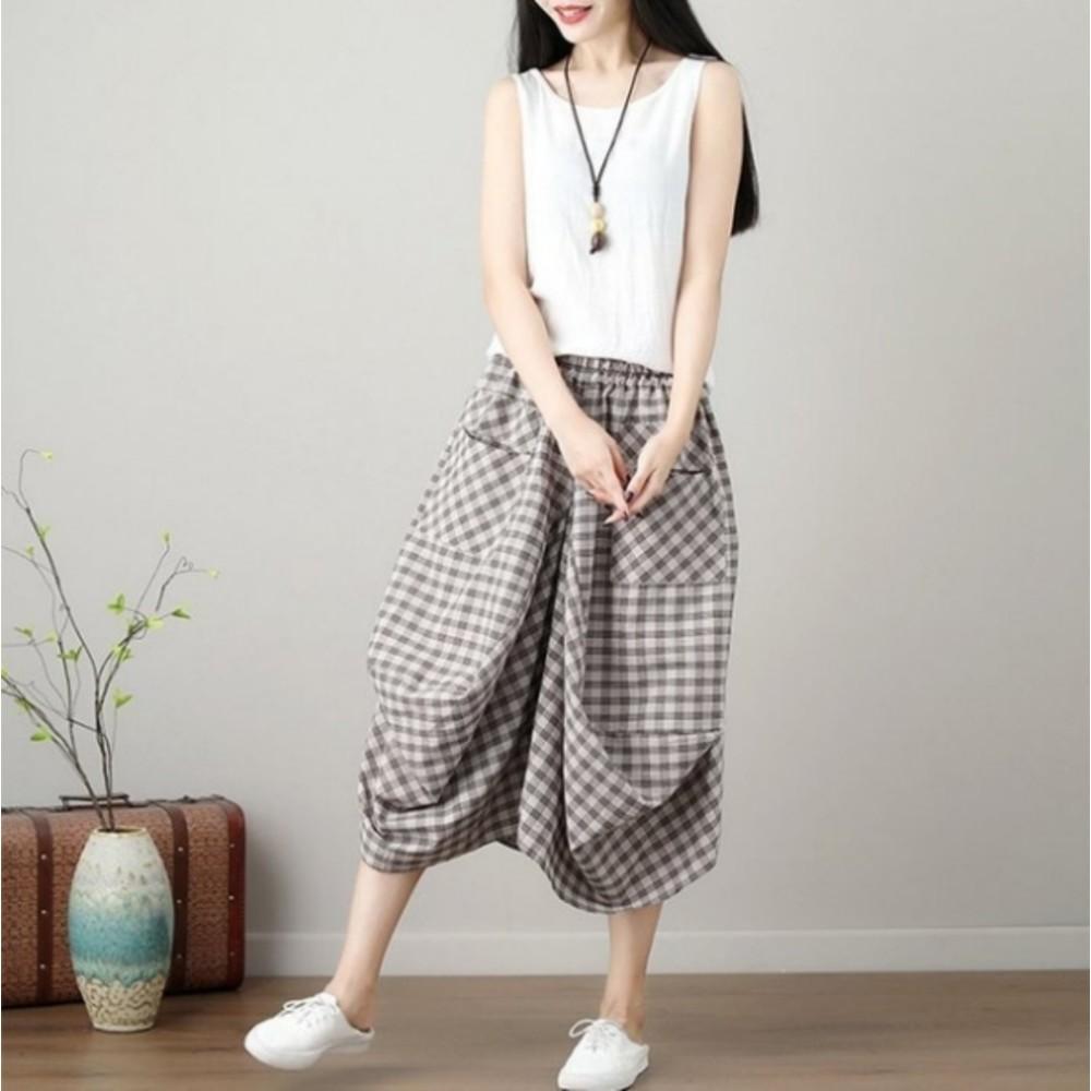 原創設計燈籠裙 【S3129】 棉麻 大方格 口袋 花苞 長裙 縮緊 不規則 燈籠裙