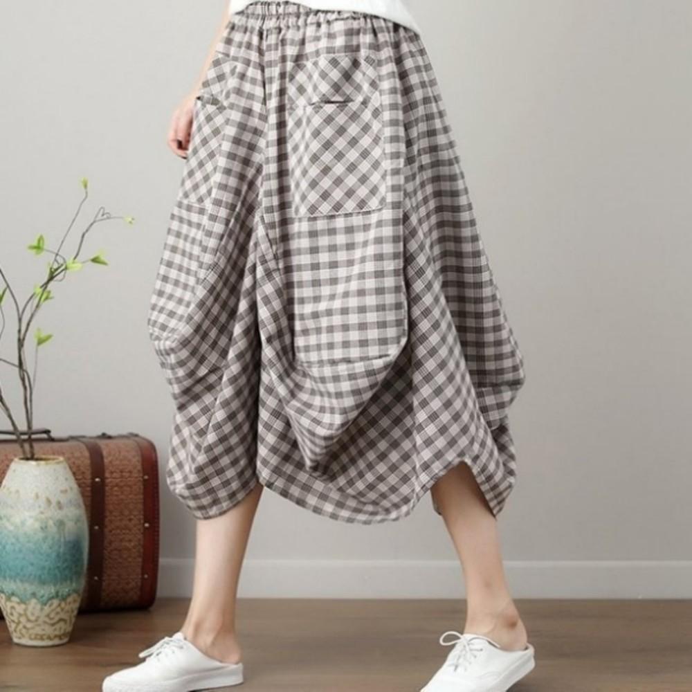 原創設計燈籠裙 【S3129】 棉麻 大方格 口袋 花苞 長裙 縮緊 不規則 燈籠裙 封面照片