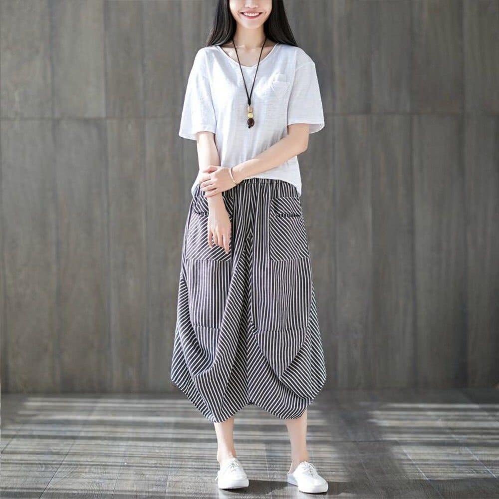 原創設計燈籠裙 【S3130】 棉麻 格紋 口袋 花苞 長裙 縮緊 不規則 燈籠裙