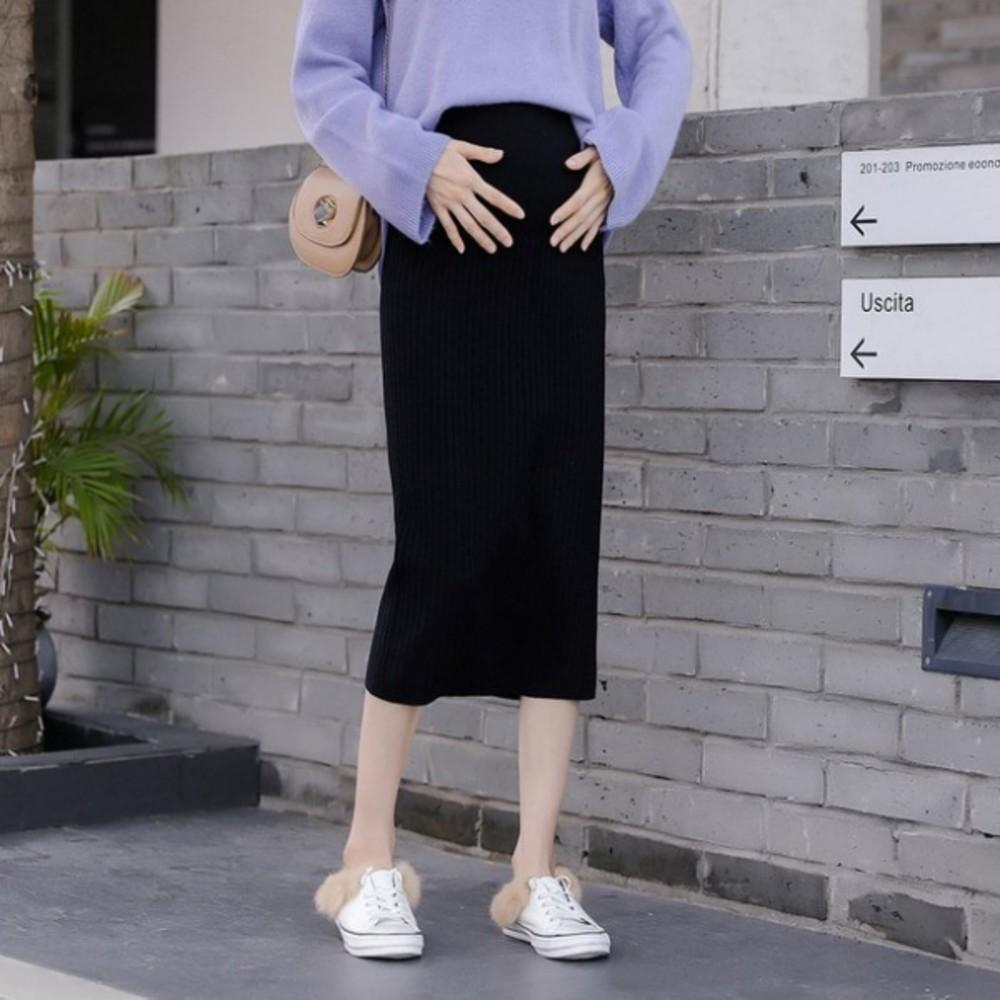 韓系 實拍 孕婦裝【S3310】M-XXL 孕婦針織 半身裙 秋冬 托腹 包臀 中長款 毛線裙 針織