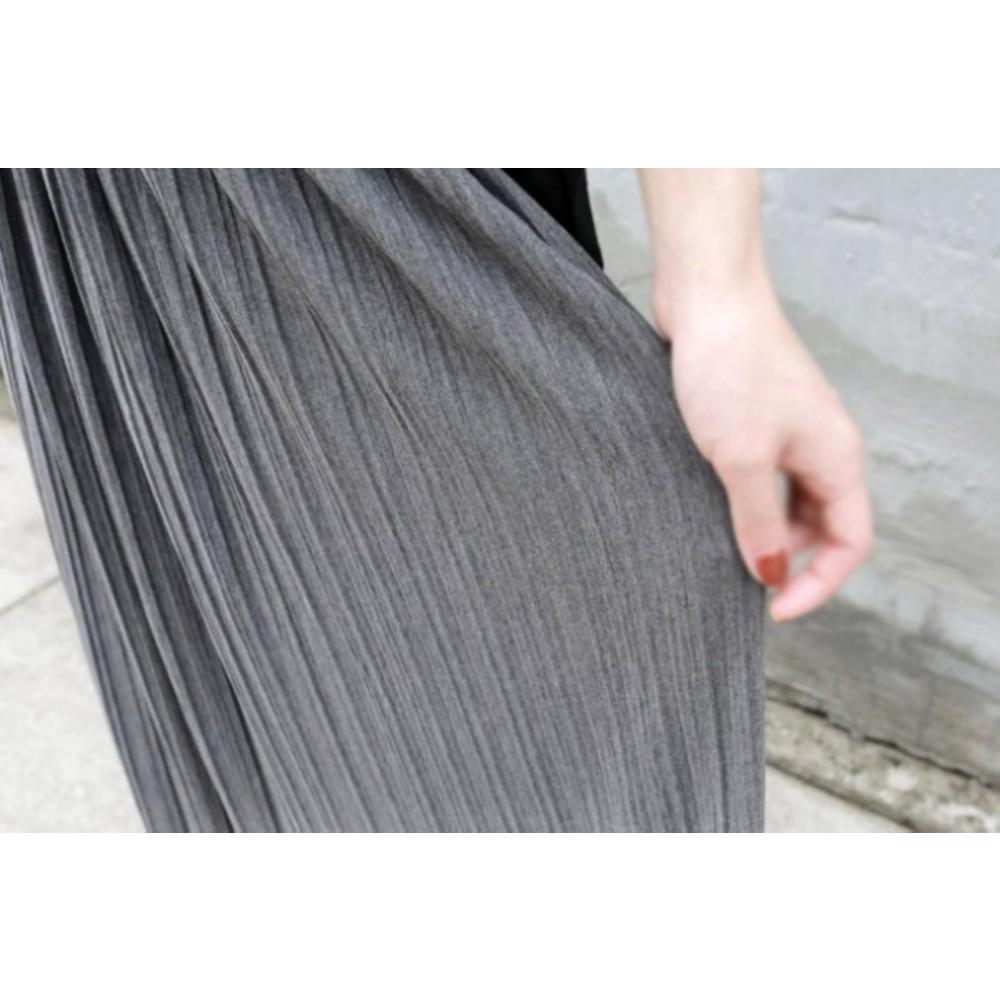 韓國半身裙 【S4393】 百褶 鬆緊 腰頭 長裙 半身裙 飄逸 裙襬 百褶長裙