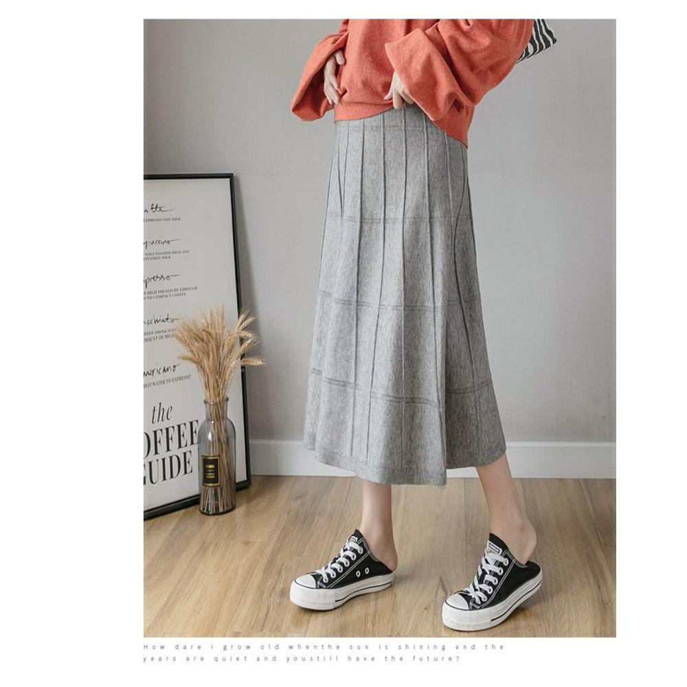 韓系 實拍 針織裙【S5357】格子 針織長裙 秋冬 針織 半身裙 孕婦 托腹裙