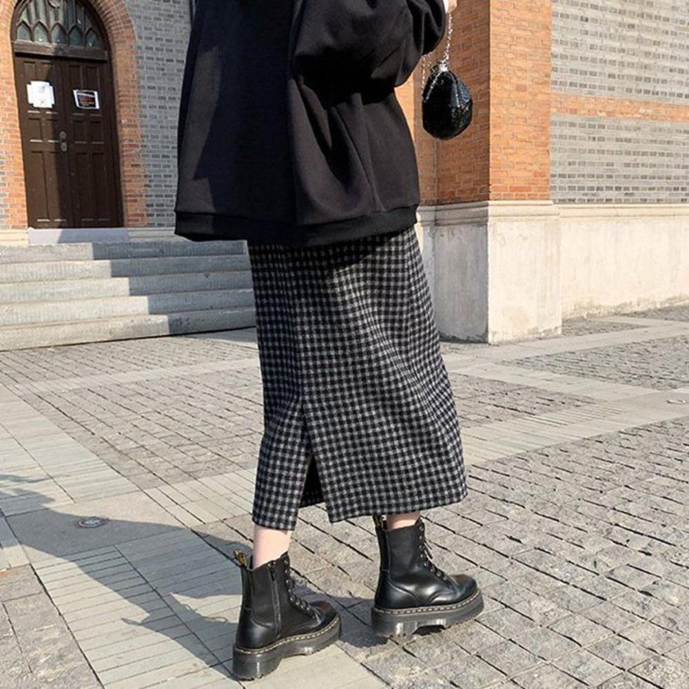 韓國托腹裙 【S5760】中長款 包臀裙 顯瘦 一步裙 孕婦裝 開叉毛呢 半身裙 高腰