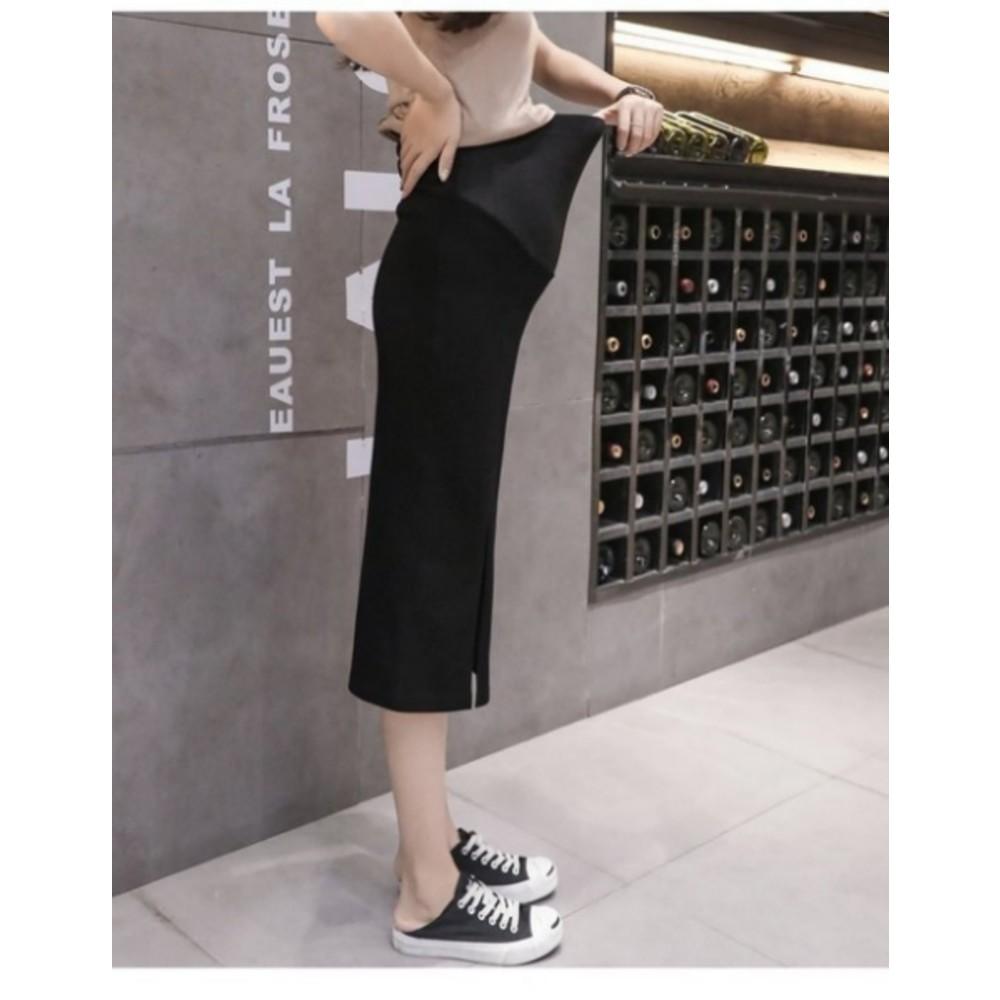 托腹 長裙 【S6003】 純色 開叉 高腰 托腹 孕婦裙 開岔 孕婦裝