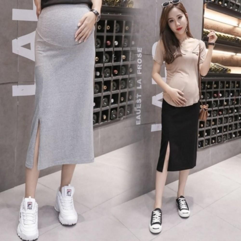 S6003-托腹 長裙 【S6003】 純色 開叉 高腰 托腹 孕婦裙 開岔 孕婦裝